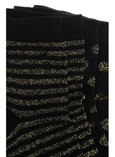 Divarese Divarese 5022619 K 2Li  Çizgili Kadın Çorap Siyah